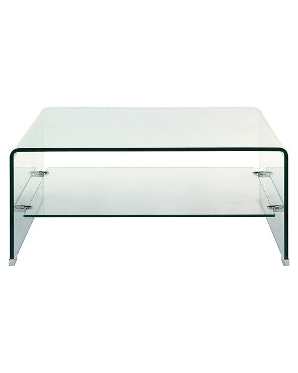 Mesa de centro de cristal cuadrada