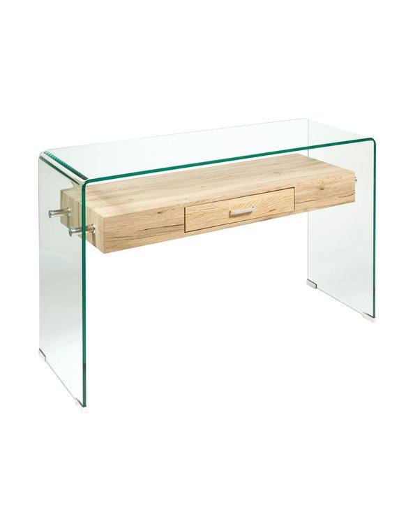Consoletafel van glas en hout