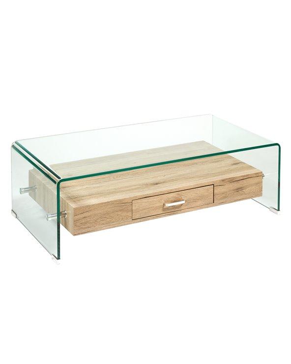 Couchtisch aus Glas und Holz