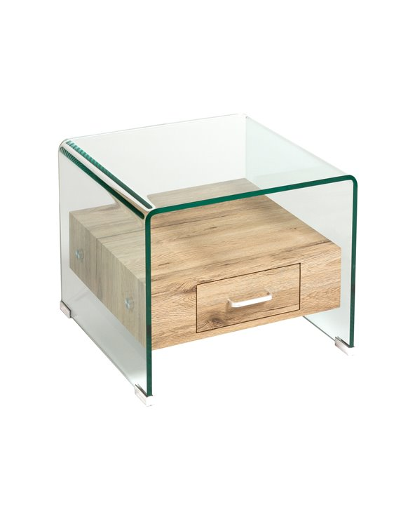 Tavolino in vetro e legno