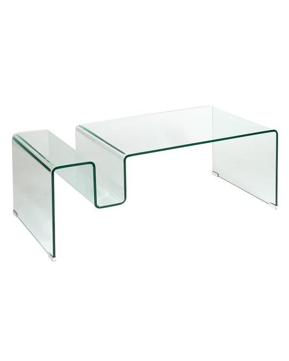 Glazen salontafel met tijdschriftenrek