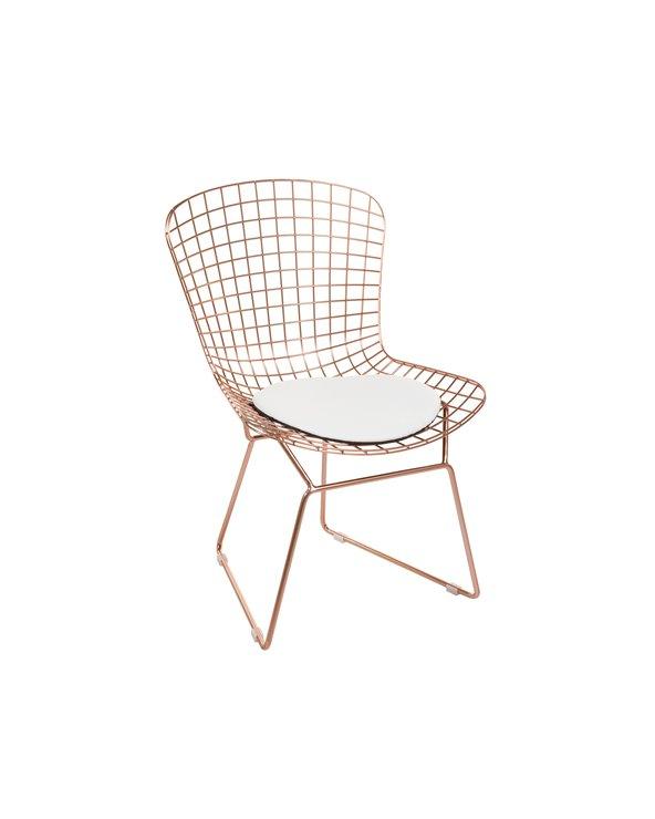 Cadeira metálica con asento branco