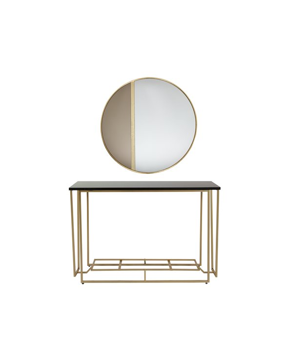 Set of Gold Console and Mirror