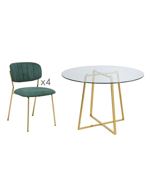 Conxunto de 4 cadeiras con mesa Daisy