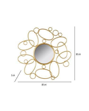 Espill redó daurat 80 cm