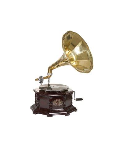 Gramófono octogonal latón