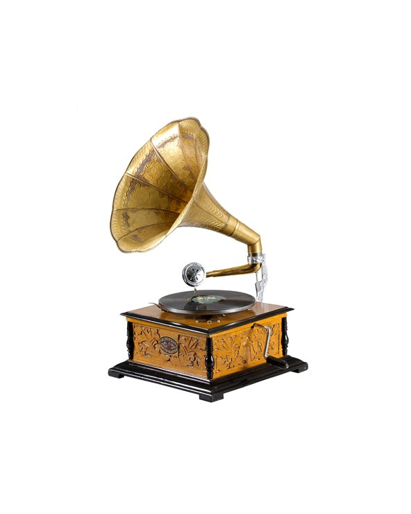 Gramófono cadrado con gravado