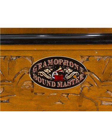 Gramófono cuadrado con grabado