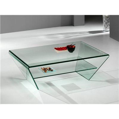 Gekrümmter Couchtisch aus Glas Kylie 115 cm