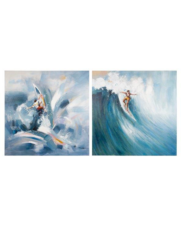Set 2 peintures à l'huile de surf
