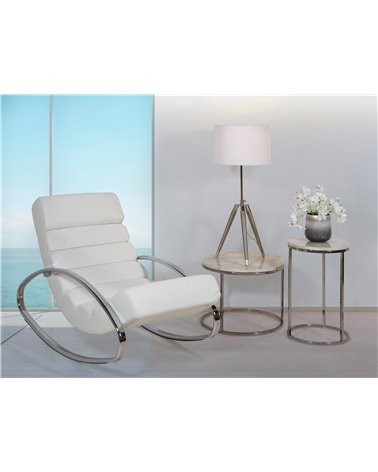 White PU rocking chair (Synthetic leathe)