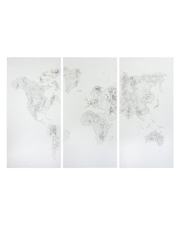 Set 3 cadros óleo Mapa