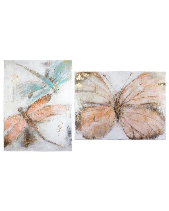 Set 2 dipinti di libellule