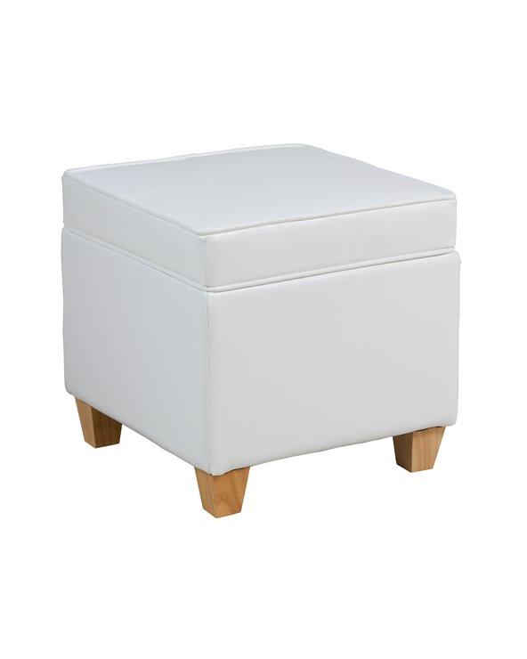 Puf con almacenaje blanco