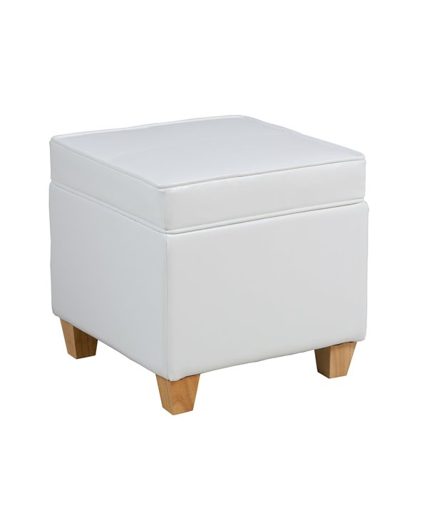 White storage pouf