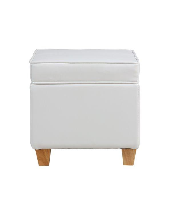 Puf amb magatzematge blanc