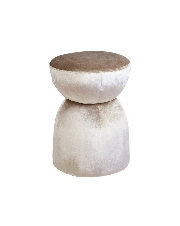 Velvet beige pouf
