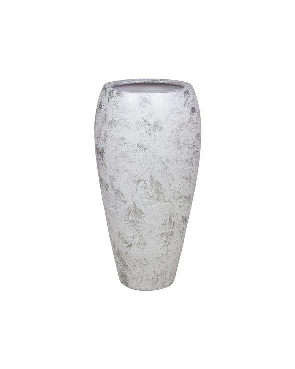 Vase blanc argenté