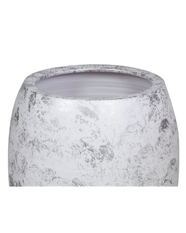 Jarrón blanco plata