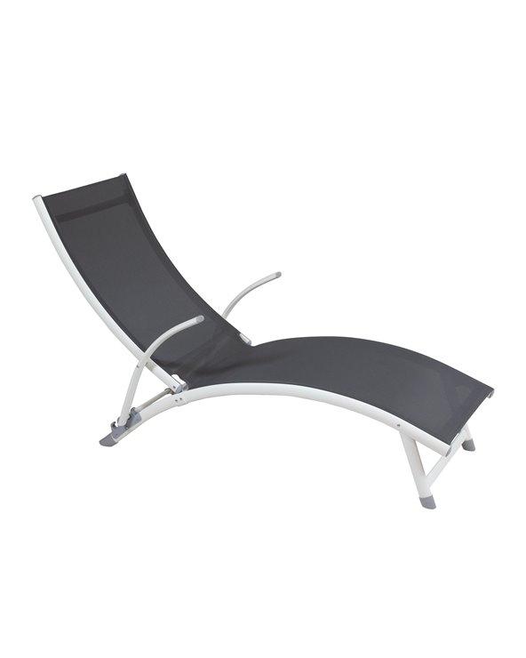 Grijze aluminium ligstoel