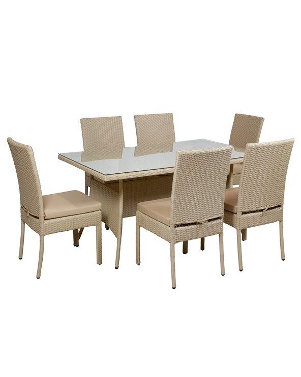 Mesa de jardín Azores de 7 piezas