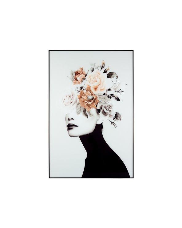 Pintura de flores de cabelo branco