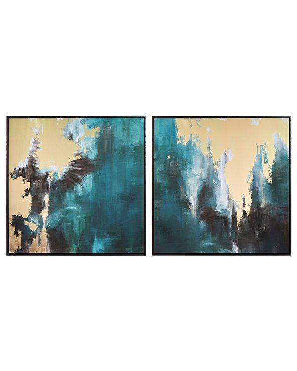 Zestaw 2 obrazów Niebieski