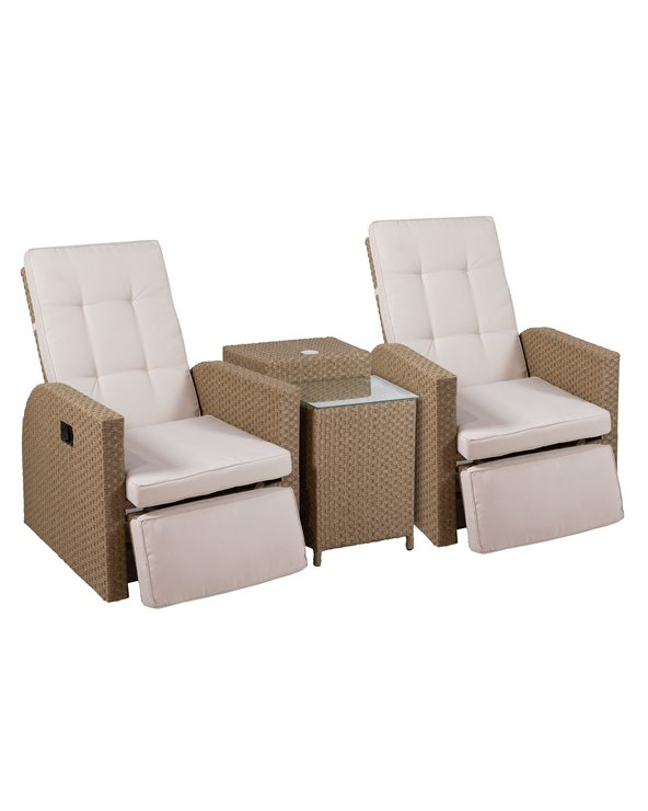 Armchairs with table and umbrella for garden