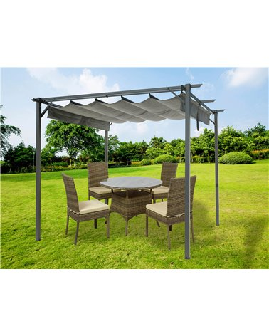 Gray pergola with awning