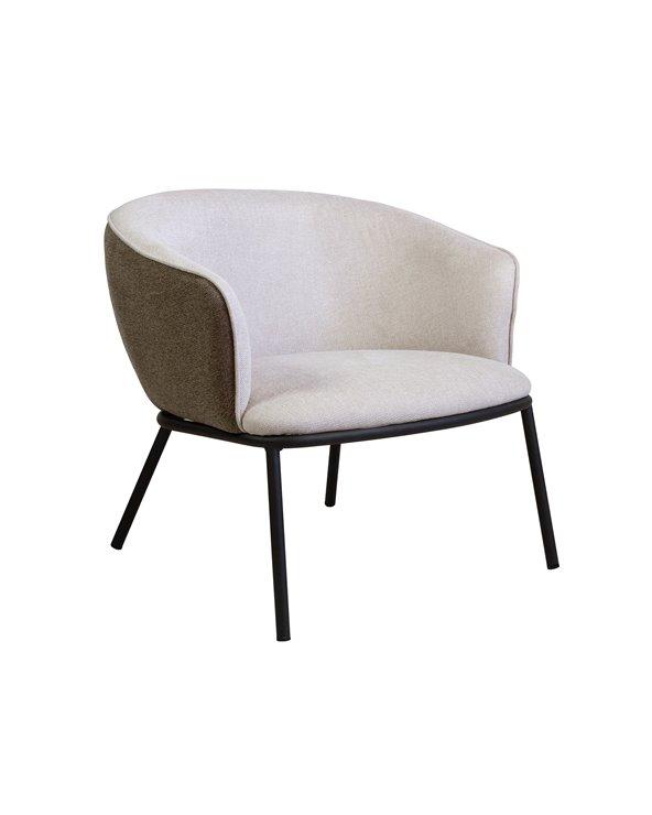 Cadeira de brazos Duke beige e marrón