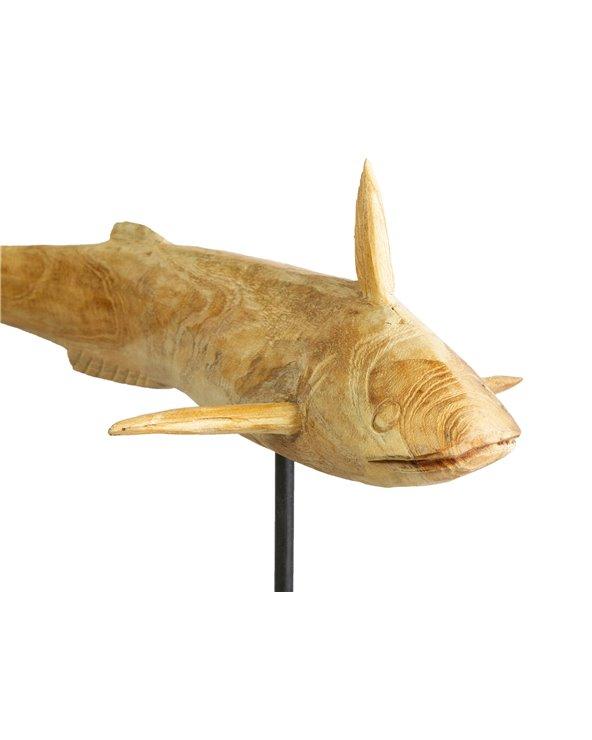 Figura fusta Peix volador feta a mà