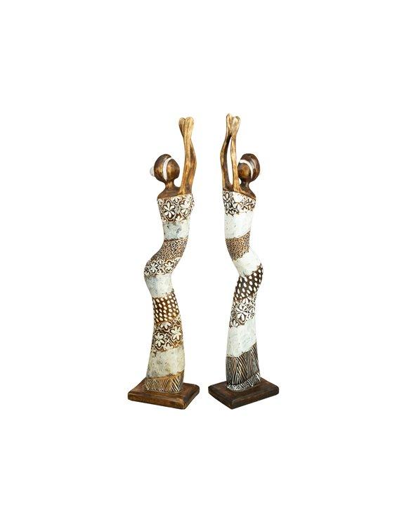 Set de 2 bustos hechos a mano - Madera recuperada de la deriva