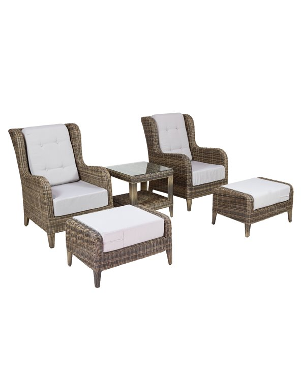 Garden armchairs with footrest