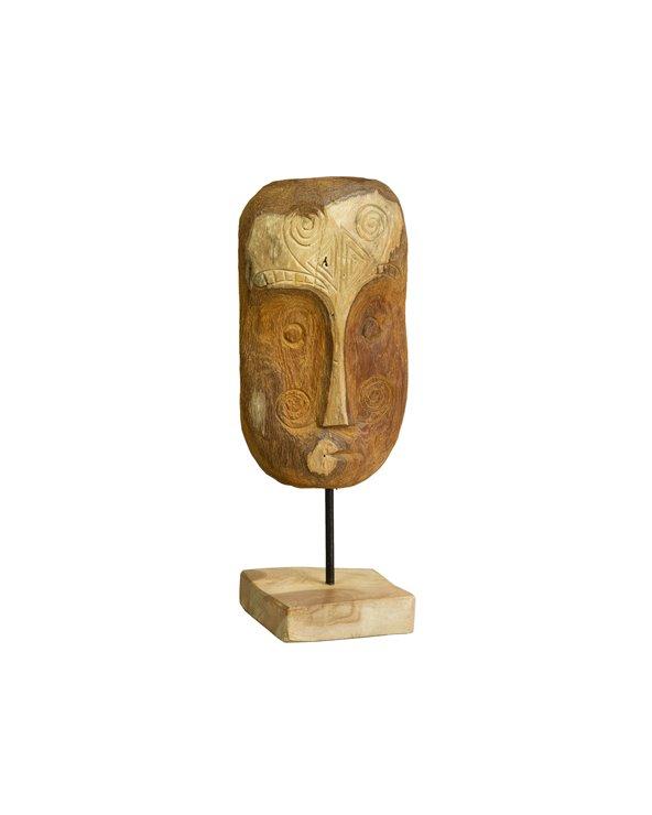 Ręcznie robiona drewniana figura twarzy