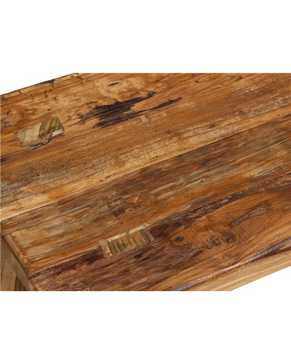 Rustic rectangular stool handmade with recycled wood