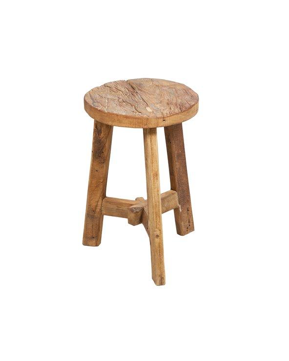 Tamboret redó rústic fet a mà amb fusta reciclada