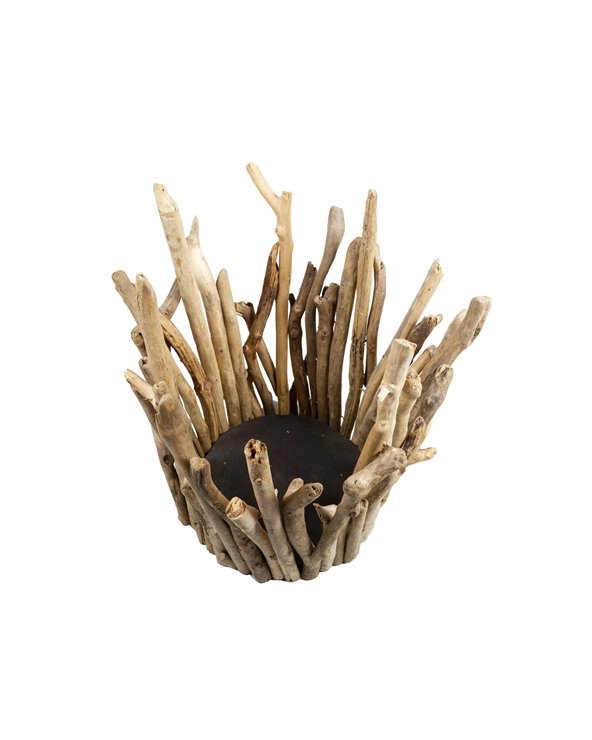 Handmade Leaves Candlestick - Reclaimed Drift Wood