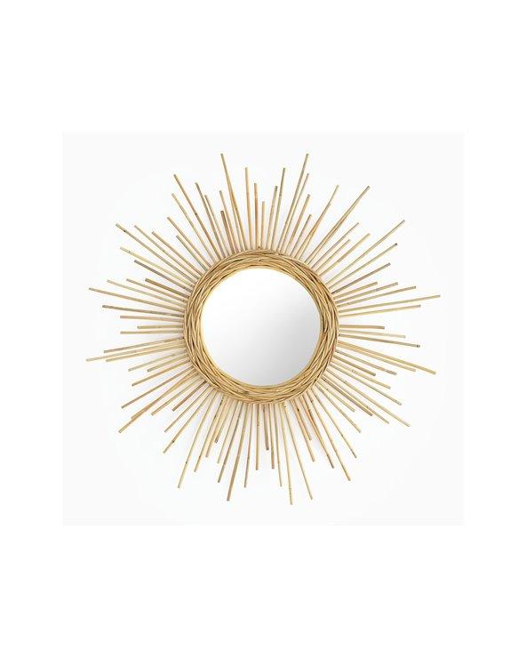Handgemaakte ronde rotan spiegel