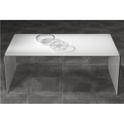 Tavolino con vetro curvo bianco Garbis 110 cm