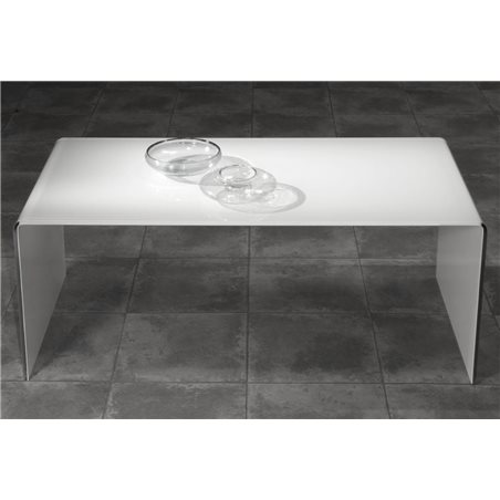 Coffee table with white curved glass Garbis 110 cm