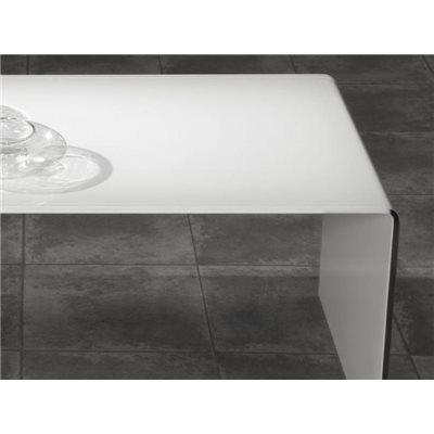 Taula de centre cristall corbat blanc Garbis 110 cm