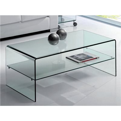 Curved glass coffee table with shelf Cardinia 110 cm