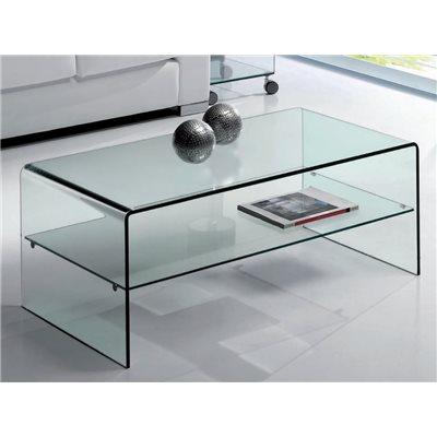 Table basse en verre courbé avec étagère Cardinia 110 cm