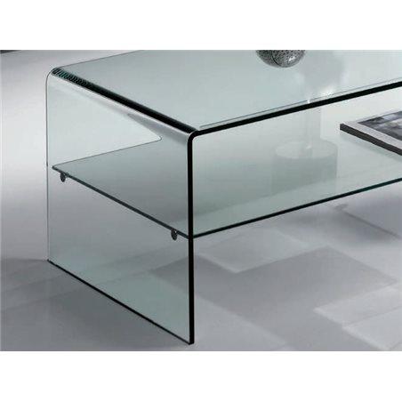Curved glass coffee table with shelf Cardinia 110 cm