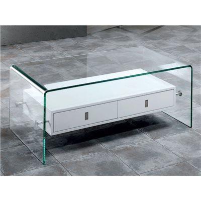 Mesa de centro em vidro curvo com duas gavetas Darel 110 cm
