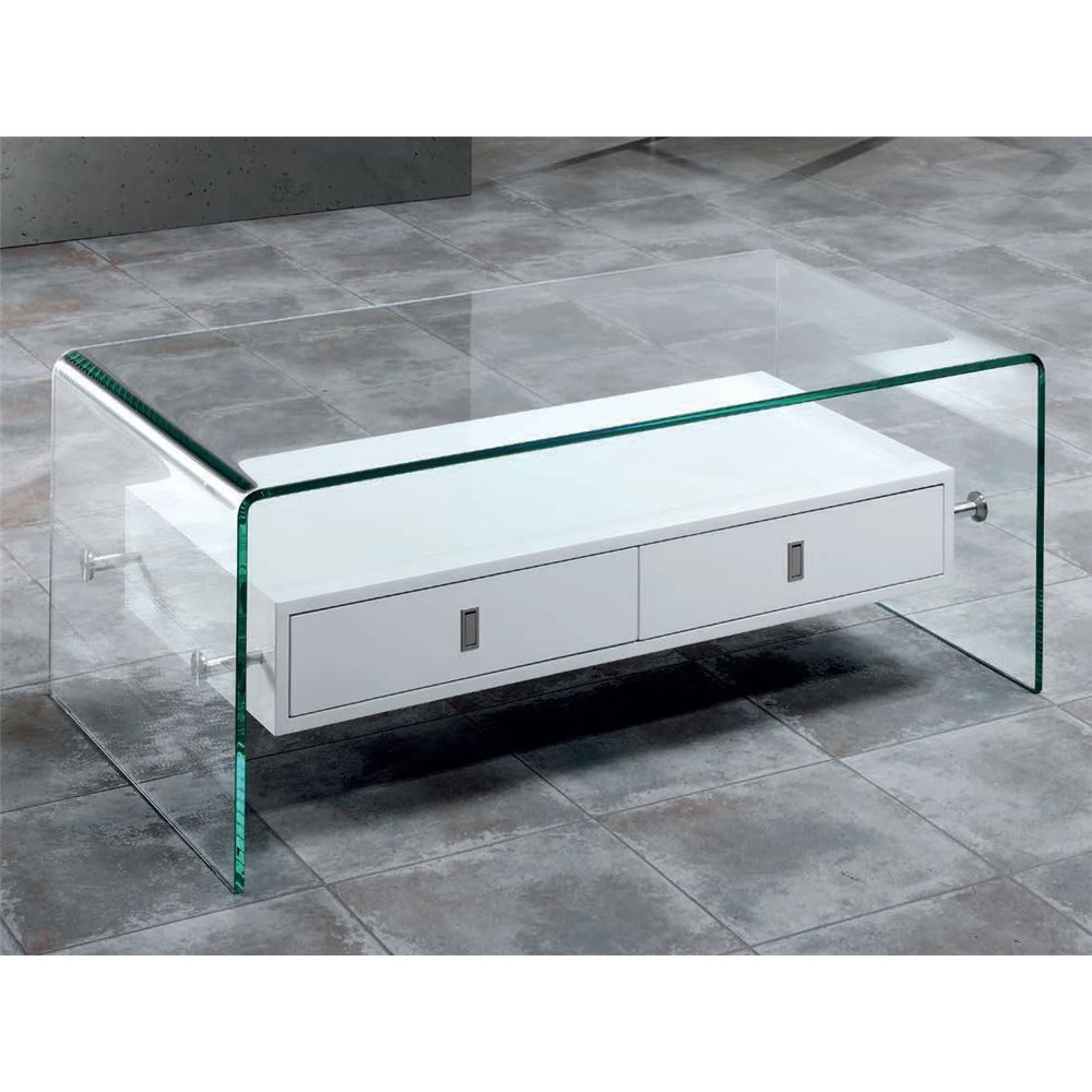 Curved glass coffee table with two drawers Darel 110 cm