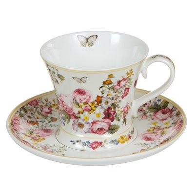 Blühen Sie weiße Tasse mit Untertasse