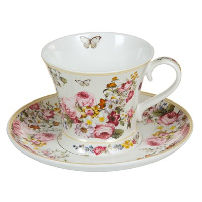 Taza con plato Bloom White