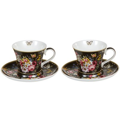 Set 2 tazas con plato Bloom Black