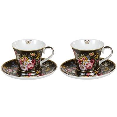 Set 2 tazas con plato Bloom Black